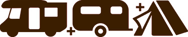 motorhomes, tourers, tents icons